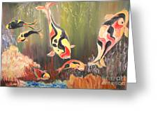 A School Of Koi Greeting Card by Rachel Carmichael