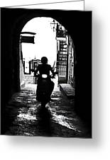 a scooter rider in the back light in a narrow street in Italy Greeting Card by Joana Kruse