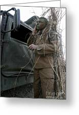 A Scout Observer Applies Camouflage Greeting Card by Stocktrek Images