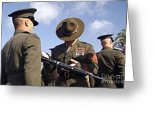 A Senior Drill Instructor Inspects Greeting Card