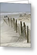 A Snow Fence Stretches Across A Dune Greeting Card by Skip Brown