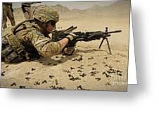 A Soldier Clears The Mk-48 Machine Gun Greeting Card
