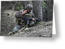 A Soldier Communicates His Position Greeting Card