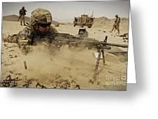A Soldier Firing His Mk-48 Machine Gun Greeting Card