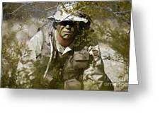 A Soldier Practices Evasion Maneuvers Greeting Card