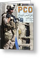 A Soldier Provides Security Greeting Card