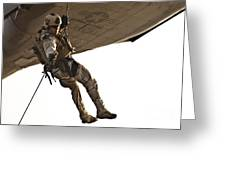 A Soldier Rappels From An Mh-60s Greeting Card