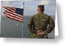 A Soldier Stands At Attention On Uss Greeting Card