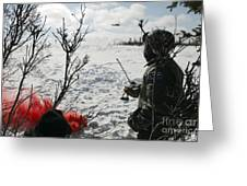 A Soldier Uses Red Smoke To Signal Greeting Card