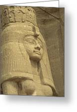 A Statue Of Nefertari At The Entrance Greeting Card by Richard Nowitz