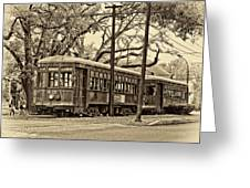 A Streetcar Named St. Charles Sepia Greeting Card
