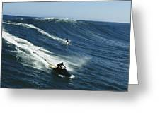 A Surfer And Jet-skier Off The North Greeting Card