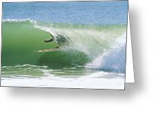 A Surfer Shoots The Curl Greeting Card