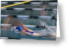 A Swimmer Races Through The Water Greeting Card