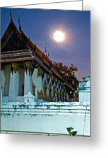 A Tempel In A Wat During A Full Moon Night  Greeting Card