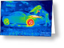 A Thermogram Of A Man Working On A Car Greeting Card