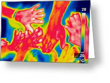 A Thermogram Of A Pile Of Human Hands Greeting Card