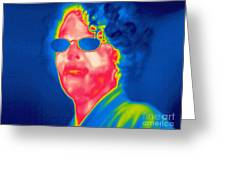 A Thermogram Of A Woman With Glasses Greeting Card