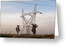 A Transmission Tower Carrying Electric Lines In The Countryside Greeting Card