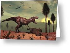 A Triceratops Falls Victim Greeting Card