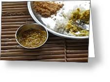 A Typical Plate Of Indian Rajasthani Food On A Bamboo Table Greeting Card