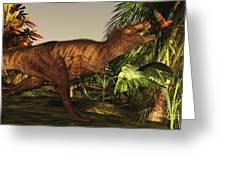A Tyrannosaurus Rex Runs Greeting Card by Corey Ford