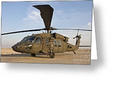 A Uh-60 Black Hawk Parked At A Military Greeting Card