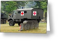 A Unimog In An Ambulance Version In Use Greeting Card
