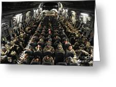 A Unit Of U.s. Army Soldiers In A C-17 Greeting Card