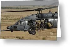 A U.s. Air Force Hh-60 Pavehawk Flies Greeting Card
