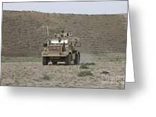 A U.s. Army Cougar Patrols A Wadi Greeting Card