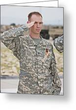 A U.s Army Soldier And Recipient Greeting Card