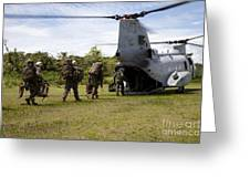 A U.s. Marine Corps Ch-46e Sea Knight Greeting Card