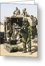 A U.s. Marine Dressed In A Bomb Suit Greeting Card