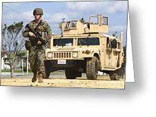 A U.s. Marine Guides A Humvee Greeting Card