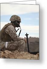 A U.s. Marine Uses A Field Phone Greeting Card