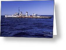A U.s. Navy Deactivated Ship Sits Ready Greeting Card