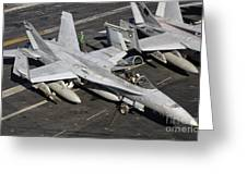 A Us Navy Fa-18c Hornet Parked Greeting Card