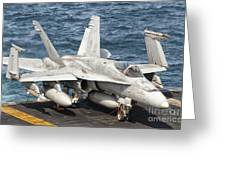 A Us Navy Fa-18c Hornet Tied Greeting Card by Giovanni Colla