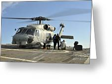 A U.s. Navy Sh-60b Seahawk Helicopter Greeting Card