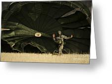 A U.s. Soldier Collapses His Parachute Greeting Card