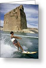 A Vacationist Water Skis Greeting Card