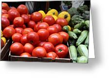 A Variety Of Fresh Tomatoes Zucchinis And Artichokes - 5d17818 Greeting Card
