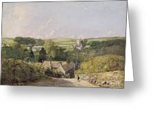 A View Of Osmington Village With The Church And Vicarage Greeting Card