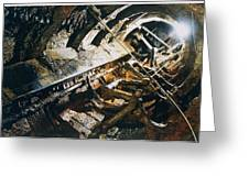 A View Of The Corroded Interior Greeting Card