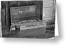 A Weathered Bench Black And White Greeting Card