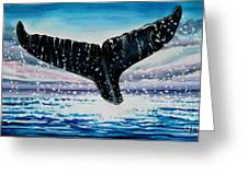 A Whale And A Violet Sunset Greeting Card