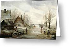 A Winter Landscape With Figures Skating Greeting Card