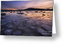 A Winter Sunset At Evenskjer In Troms Greeting Card