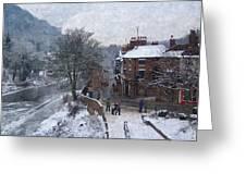 A Wintry Street Scene In Ironbridge Gorge England In Digital Oil Greeting Card